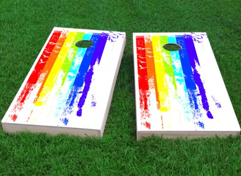Gay Pride Rainbow Paint with Birds Cornhole Game (Set of 2) by Custom Cornhole Boards