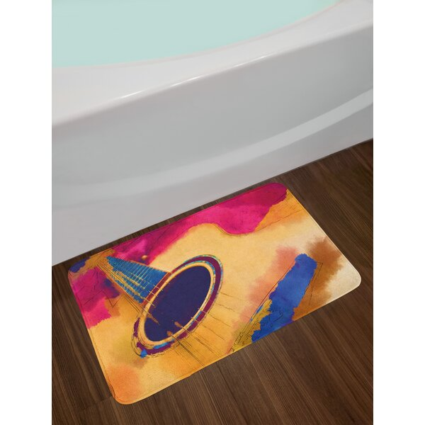 Abstract Strings Guitar Bath Rug by East Urban Home