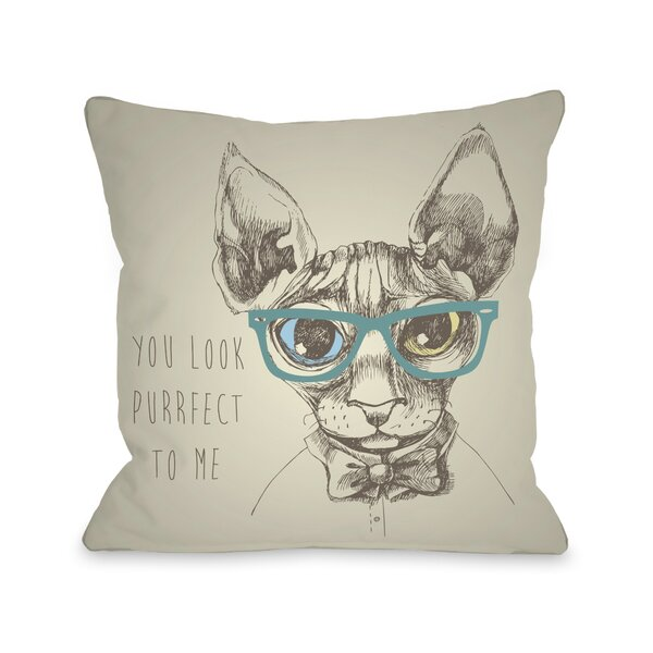 Purrfect To Me Throw Pillow by One Bella Casa