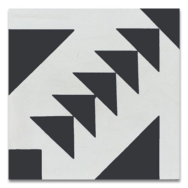 Tadla 8 X 8 Handmade Cement  Tile in Black/White by Moroccan Mosaic