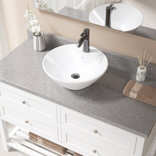 Online Reviews Vitreous China Circular Vessel Bathroom Sink with Faucet and Overflow By MR Direct