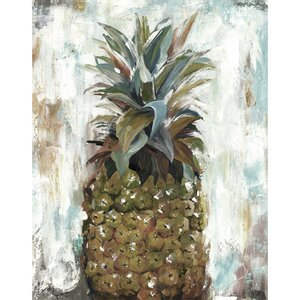 'Pineapple Portrait Light' Painting Print on Wrapped Canvas by Bay Isle Home