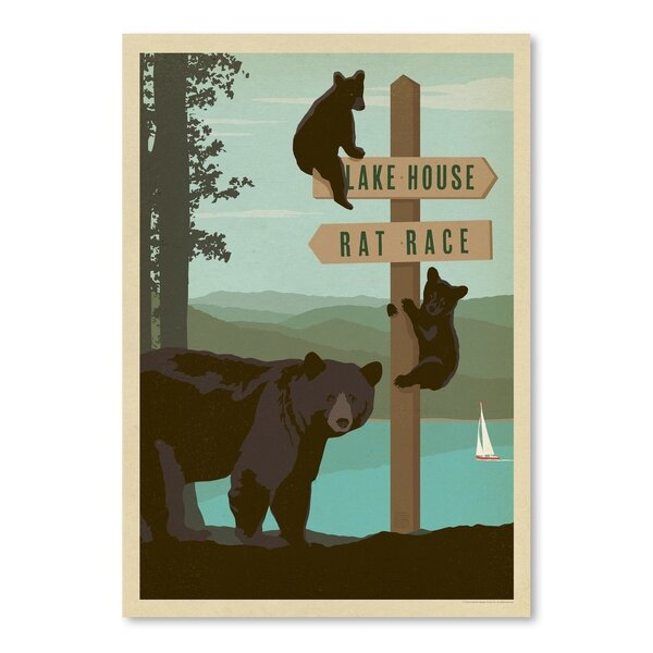 Lake Bear Sign Post Vintage Advertisement by East Urban Home