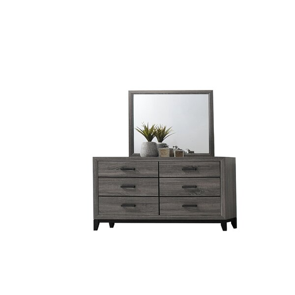 Webster 6 Drawer Double Dresser With Mirror By Union Rustic