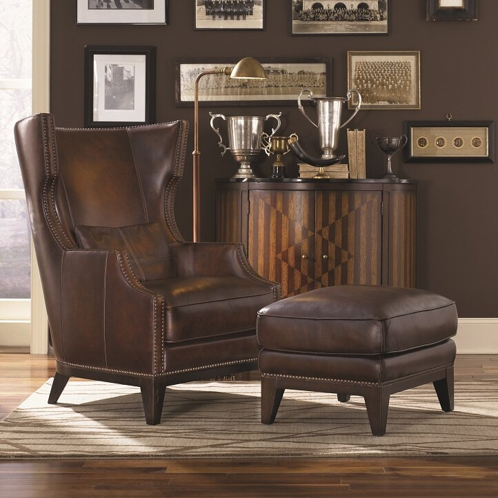 Beau Martin Hill Wingback Chair And Ottoman