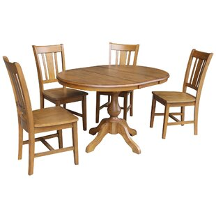 Damien 5 Piece Extendable Solid Wood Dining Set ByAlcott Hill