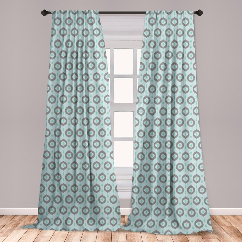 East Urban Home Ambesonne Seafoam Curtains, Ikat Style Motifs