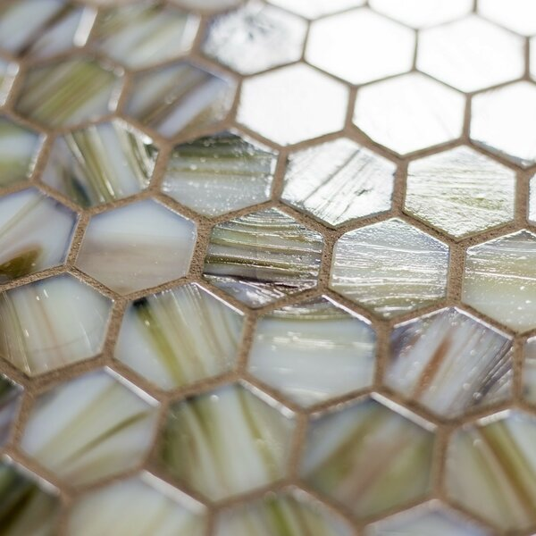Hexagon 11.33 x 10.75 Glass Mosaic Tile in Beige Mix by Abolos