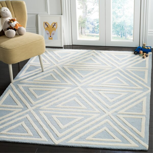 Claro Triangles Hand-Tufted Blue/Ivory Area Rug by Harriet Bee