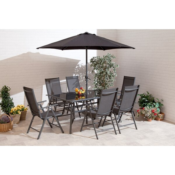 Ubon 7 Piece Dining Set with Umbrella by Red Barrel Studio