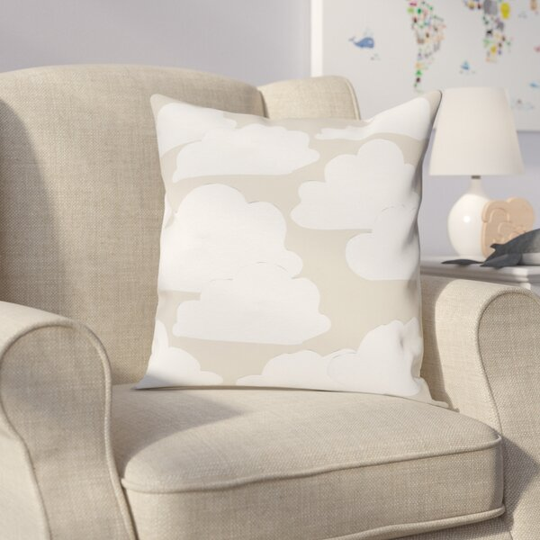 Shelia Khaki Clouds Throw Pillow by Viv + Rae