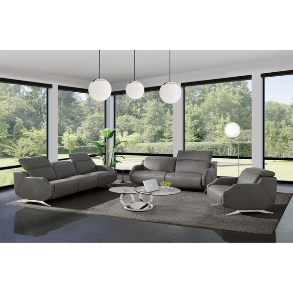 Berlinville 3 Piece Leather Reclining Living Room Set By Orren Ellis Find