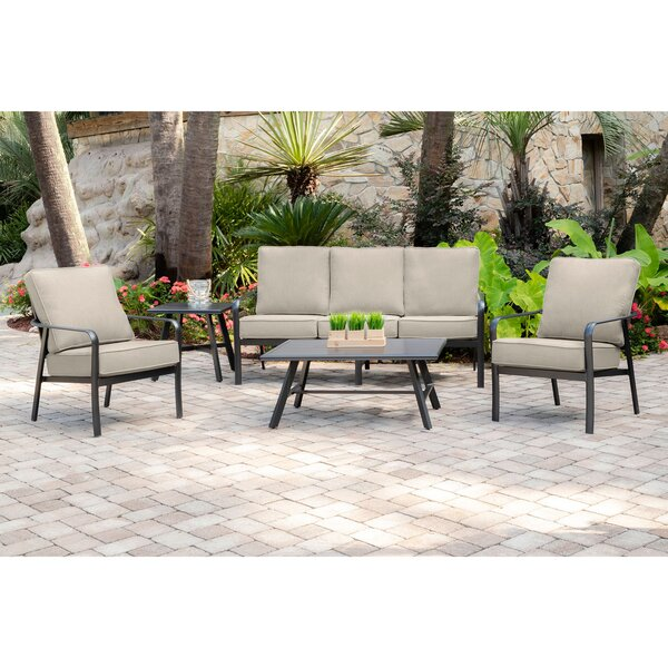 Colson 5-Piece Commercial-Grade Patio Seating Set with 2 Cushioned Club Chairs Sofa and Slat-Top Coffee and Side Table by Gracie Oaks