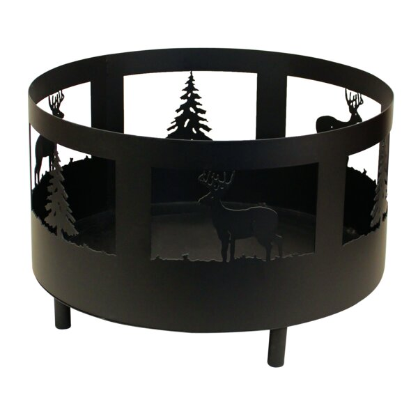Deer and Tree Scene Metal Wood Burning Fire Pit by Coast Lamp Mfg.