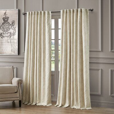 "Waterford Bedding Delia Striped Semi-Sheer Rod Pocket Single Curtain Panel Size per Panel: 54"" W x 96"" L, Curtain Colour: Ivory"