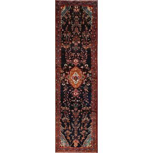 Online Reviews One-of-a-Kind Authement Hamadan Persian Hand-Knotted Runner 3'9 x 13'2 Wool Red/Black Area Rug By Isabelline