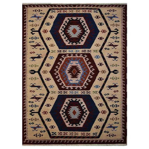Corrin Hand-Knotted Cream/Blue Area Rug by Bloomsbury Market