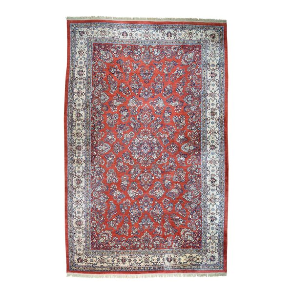 One-of-a-Kind Peiffer Old Persian Sarouk Mint Cond Hand-Knotted Red Area Rug by World Menagerie