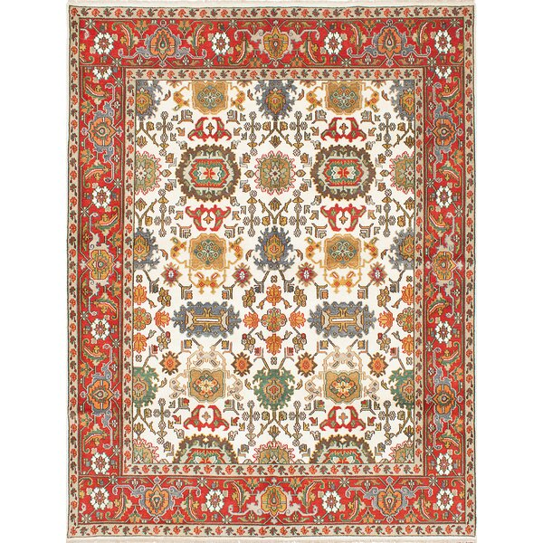Baldry Hand-Knotted Cream/Red Area Rug by Bloomsbury Market