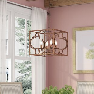 Affordable Price Twin Falls 4-Light Square/Rectangle Chandelier By One Allium Way