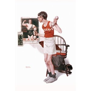 'Boy Lifting Weights' by Norman Rockwell Graphic Art on Wrapped Canvas by East Urban Home