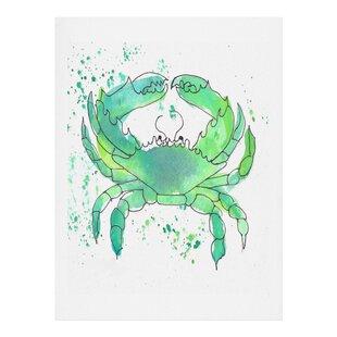 Seafoam Green Crab Painting Print