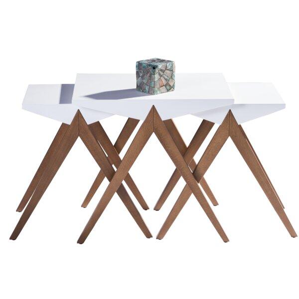 Bodnar Lightweight Stackable Triangular 3 Piece Nesting Tables by Corrigan Studio