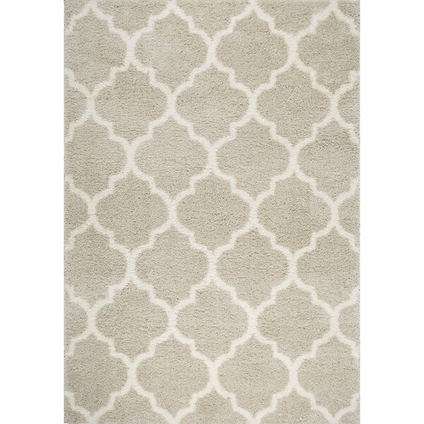 McSpadden Trellis Gray/White Area Rug with Rug Pad by House of Hampton
