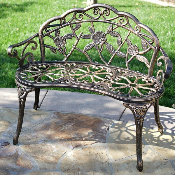 Larue Rose Iron Garden Bench by Lark Manor