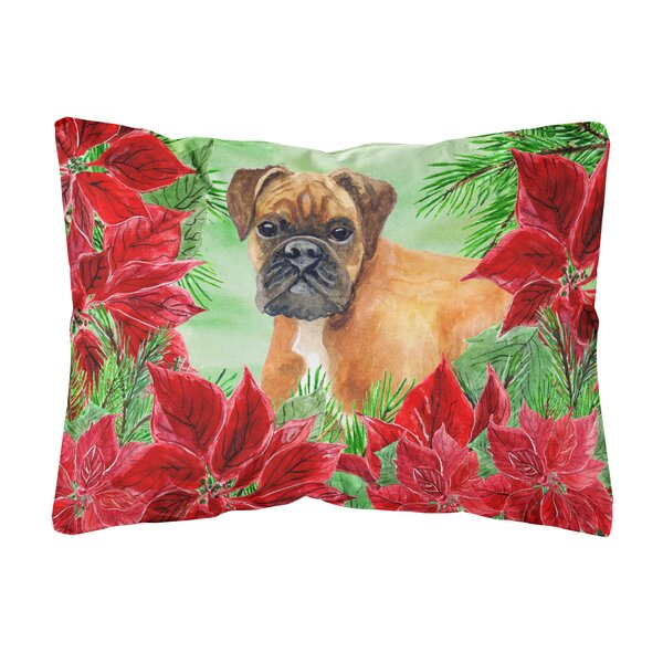 Iron German Boxer Poinsettias Indoor/Outdoor Throw Pillow by The Holiday Aisle