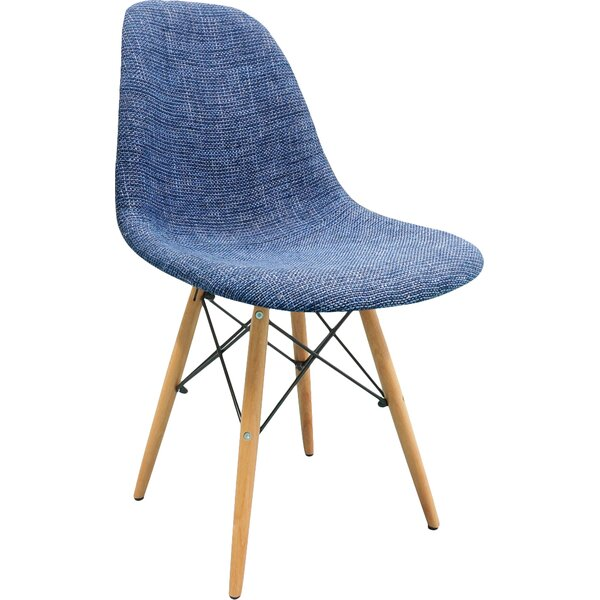 Mid Century Modern Woven Fabric Upholstered Side Chair by eModern Decor