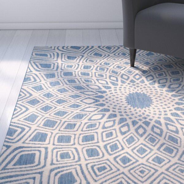 Mullen Geometric Blue/Beige Indoor/Outdoor Area Rug by Ebern Designs