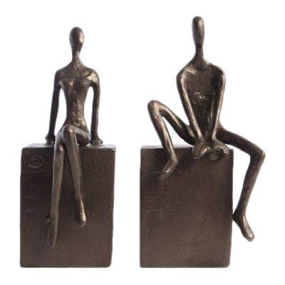 Man & Woman Sitting on a Block Bookends (Set of 2) by Red Barrel Studio