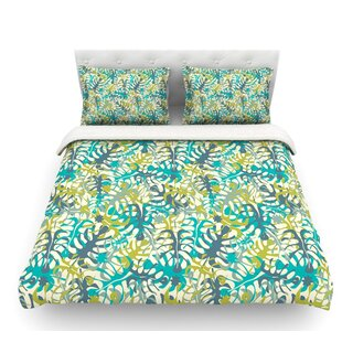 Tropical Leaves by Julia Grifol Featherweight Duvet Cover