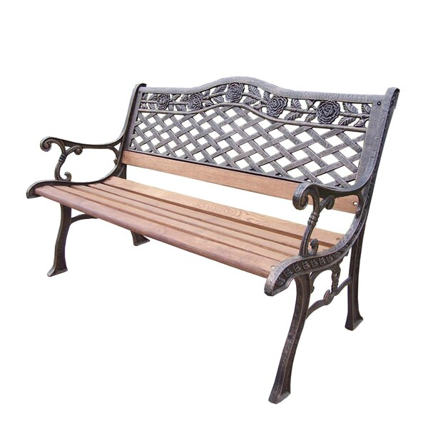 Oakland Living Tea Rose Wood And Cast Iron Park Bench Reviews - Park bench and table
