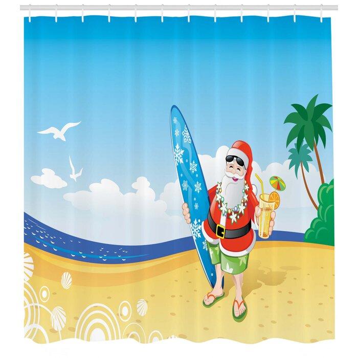 Christmas Santa On Beach Surf Shower Curtain Hooks