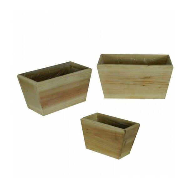 Wooden Flower 3-Piece Wood Pot Planter Set (Set of 3) by Entrada