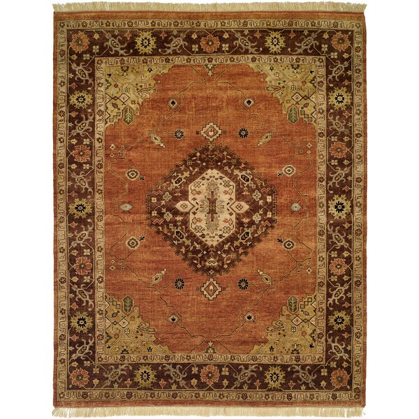 Hay Hand-Knotted Brown/Orange Area Rug by Wildon Home ®