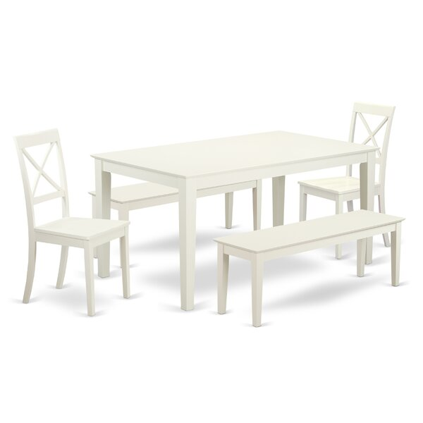 Smyrna 5 Piece Solid Wood Dining Set by Charlton Home Charlton Home