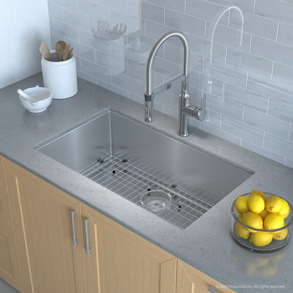 "Handmade Series 32"" x 19"" Undermount Kitchen Sink with Faucet and Soap Dispenser by Kraus"
