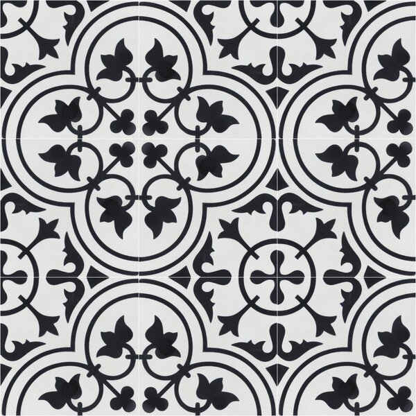 Tulips B Morning 8 x 8 Cement Field Tile in Black/White by Villa Lagoon Tile