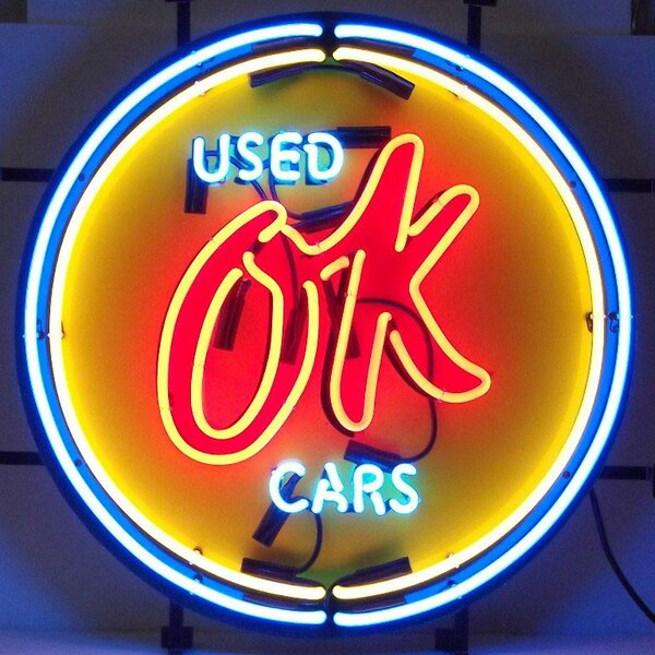 Cars and Motorcycles Chevy Vintage Ok Used Cars Neon Sign by Neonetics