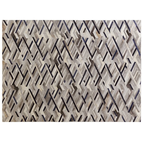 Natural Hide Hand-Tufted Cowhide Ivory/Gray/Blue Area Rug by Exquisite Rugs