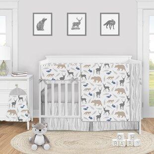 Watercolor woodland animals toddler girl single comforter crib bedding set. Woodland baby bedding girls duvet set with sheets