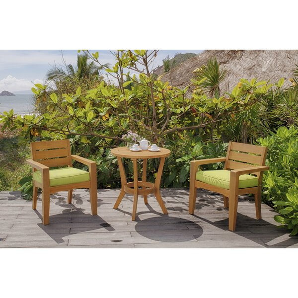 Walden 3-Piece Teak Bistro Set with Cushions by Wrought Studio