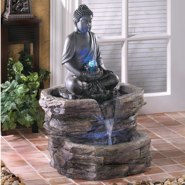 Resin Zen Buddha Polyresin Fountain with LED Light by Zingz & Thingz