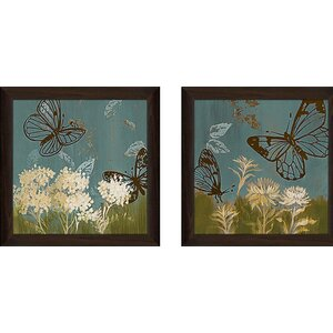 'Blue Day in May II' 2 Piece Framed Acrylic Painting Print Set Under Glass by Andover Mills