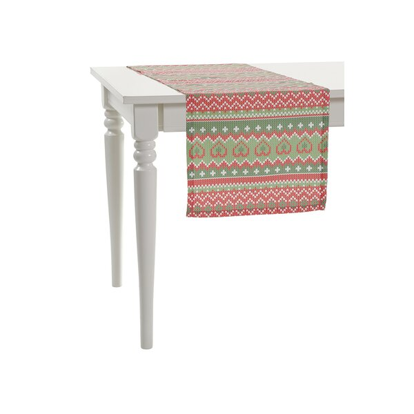 Christmas Pixelated Zigzags Line Table Runner by Debage Inc.