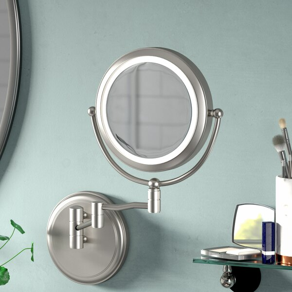 Tibbits Round Swing Arm LED Magnifier Mirror by Canora Grey