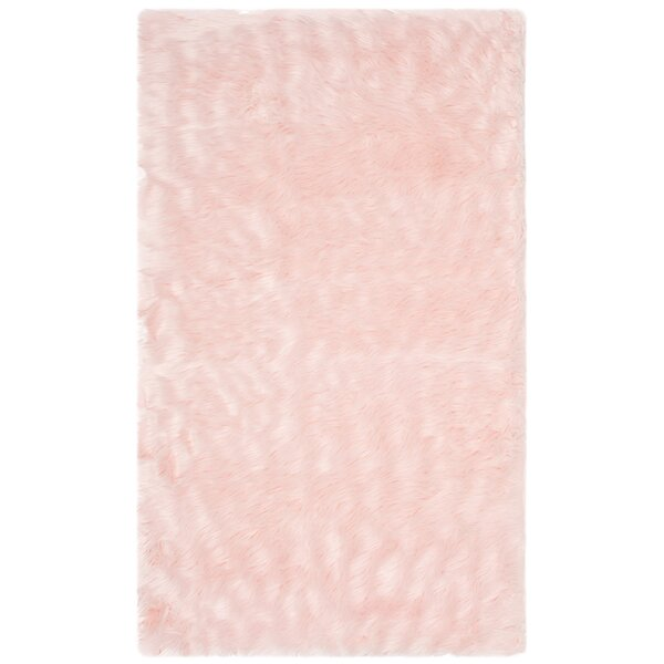 Anthony  Fur Pink Area Rug by House of Hampton